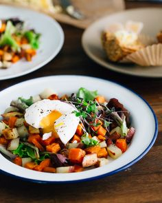 Two-Potato Hash and Soft-Boiled Eggs {Brunch Menu} | A Couple Cooks