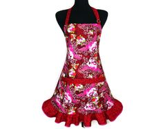 Tattoo Hearts and Rose Petal Ruffled Apron for Women by ElsiesFlat, $36.00