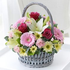 Same day flower delivery Garforth by The Flower House Florist your local flower shop, send flowers, wedding flowers & funeral flowers. Birthday Basket, Birthday Bouquet, Basket Flower Arrangements, Floral Arrangements, Rare Flowers, Beautiful Flowers, Exotic Flowers, Cemetery Flowers, Hand Bouquet