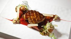SEARED HUDSON VALLEY FOIE GRAS. Concord Grape, Spiced Waffle, Caramelized Maple Syrup.
