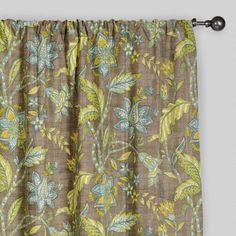 One of my favorite discoveries at WorldMarket.com: Floral Tamara Curtains, Set of 2  DIFFERENT VIBE, BUT IF YOU WANT TO DO GREEN, I THINK THESE WOULD BRING THAT COLOR INTO THE OTHER ROOM.  LOVE THESE AS A SECOND CHOICE.