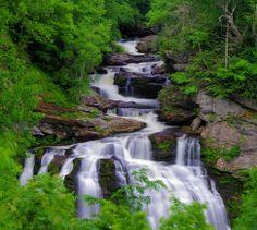 Cullasaja Falls in Nantahala National Forest near Highlands NC