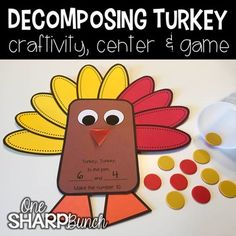 Thanksgiving: This Thanksgiving DECOMPOSING TURKEY CRAFTIVITY is perfect for Thanksgiving or even the month of November! It comes complete with all of the decomposing turkey craft templates for NUMBERS which can be printed directly on colored paper. Thanksgiving Worksheets, Thanksgiving Activities, Thanksgiving Crafts, Kindergarten Thanksgiving, Holiday Activities, Holiday Crafts, Holiday Decor, Decomposing Numbers, Printable Numbers