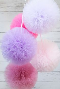 Tulle pompoms are very graceful and fashionable children's room decorative element. There will also be a great idea to decorate children's parties, christenings or a picnic in the garden. #mybaze #wedding #decor