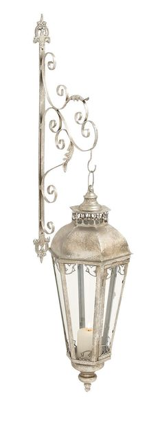 Elegant Silver Scrollwork Metal Glass Wall Lantern French Country Home Decor