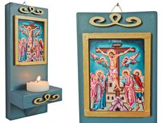 Jesus Christ art, wooden altar, catholic gift, christian painting, Jesus with a cross Catholic Crucifix, Personal Altar, Christian Paintings, Catholic Gifts, First Holy Communion, Painting On Wood, Jesus Christ, Decoupage, Etsy