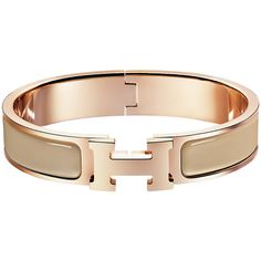 Hermès Clic H Bracelet ($600) ❤ liked on Polyvore featuring jewelry, bracelets, hermes, enamel bangle, rose jewellery, rose jewelry and enamel jewelry