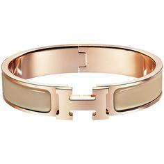 Hermès Clic H Bracelet ($600) ❤ liked on Polyvore featuring jewelry, bracelets, hermes, enamel jewelry, enamel bangle, rose jewellery and rose jewelry