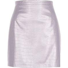 River Island Purple metallic leather-look skirt ($19) ❤ liked on Polyvore featuring skirts, mini skirts, purple, sale, mini skirt, pink faux leather skirt, short skirts, river island and purple skirt