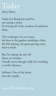 Mary Oliver: letting all the voodoos of ambition sleep.