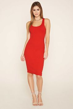 A ribbed knit bodycon dress with a sleeveless cut and a scoop neckline.