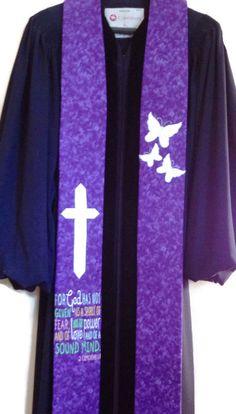 Clergy Stole - Purple Clergy Stole w/ Cross, Butterflies & 2 Timothy 1:7 Scripture