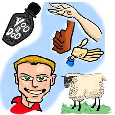 Monday Doodle Voodoo, hands, and a sheep #voodoo #drawing #hands #sheep