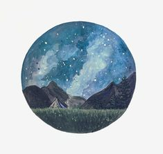 Camping Print Night Sky Print Camp Painting Mountain by BirchBliss