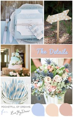 Bridal Inspiration Mood Board Blushing Blue by http://www.pocketfulofdreams.co.uk/