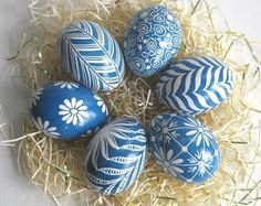 Easter Eggs set of 6 chicken eggs in Blue by UkrainianEasterEggs
