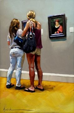 "Karin Jurick ~ ""Head Room"" ~  a couple of young ladies studying small portraits in the metropolitan museum of art."