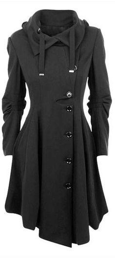 Diagonal Button Overcoat with Pleated Asymmetrical Hem / Fashion Mia
