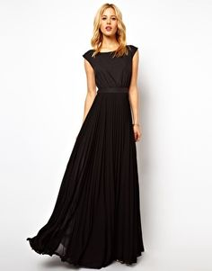 Mango Maxi Dress With Pleat Skirt And Open Back-Front