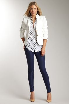 J Brand-white blazer, poka dot shirt, hot pants