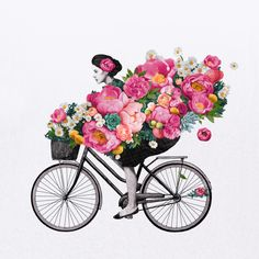 floral bicycle Art Print by Laura Graves | Society6