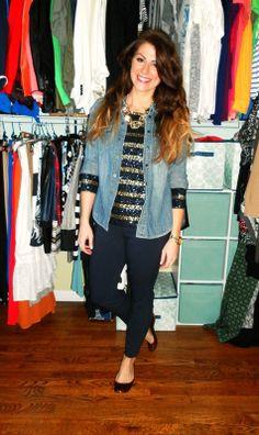 sequined stripe shirt, chambray shirt, jcrew minnie pant, tortoiseshell flats