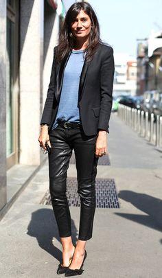 calça de couro + blazer