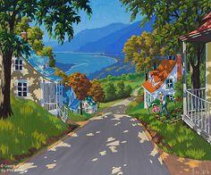 """Rémi Clark - """" Au petit potager """" Scenery Paintings, Paintings Famous, Happy Paintings, Colorful Paintings, Art Paintings, Puerto Rico Pictures, Images D'art, Art Amour, Art Gallery"""