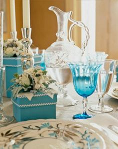 Pretty blue table setting