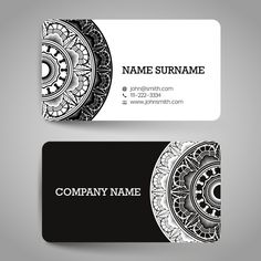 Business card with black and white ornaments Free Vector - Graphic Files Business Cards Layout, Professional Business Card Design, Minimal Business Card, Free Business Cards, Business Card Logo, Business Design, Jagua Henna, Visiting Card Design, Name Card Design