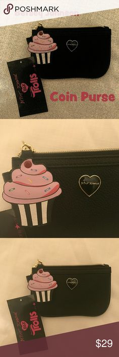 ❤️ NWT Betsey Johnson Trolls Coin Purse This brand new little Betsey Johnson coin purse is so cute with its cupcake zipper pull!  This item is a part of the peace hand jewelry holder free gift with purchase special offer. Just bundle and purchase at least three or more Betsey Johnson Trolls and /or Love Bravery items from my closet to take advantage of this offer!  From a smoke-free and happy-to-bundle closet.  No trades or transactions outside of Poshmark.  [N174] Betsey Johnson Bags…
