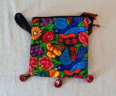 Guatemala  Handmade Embroidered Tassel Purse  Birds by PIDcrafts