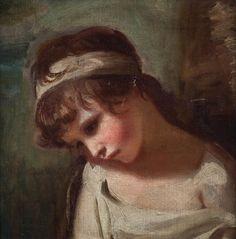 "GEORGE ROMNEY (Dalton-inFurness, Lancashire, 1734-Kendal, Westmoreland, 1802) ""The Cumberland child"". Oil on canvas. 41 x 41 cm"