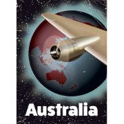 Australia vintage vacation poster, Retro style flight poster of the earth.