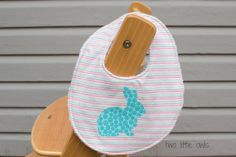 Baby bib Easter bunny girl design made to by TwoLittleOwlsShop, $16.00