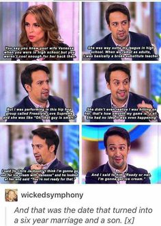 funny Lin Manuel Miranda interview Now Usnavi and Vannesa Hamilton Musical, Alexander Hamilton, Lin Manual Miranda, Hamilton Lin Manuel Miranda, And Peggy, Out Of Touch, Fandoms, All That Matters, Musical Theatre