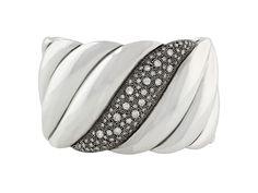David Yurman Midnight Melange Wide Diamond Cuff Bracelet in Silver from B2 at Beladora.com