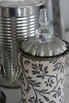 Decorating tin cans...these are adorable!.