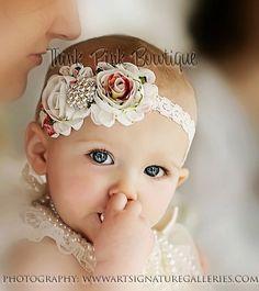 Headband, flower headband, baby headbands, shabby chic roses headband,baby girl headband-VISIT OUR STORE- - LoveItSoMuch.com