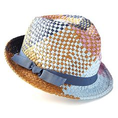 Collection XIIX Woven Plaid Fedora with Bow