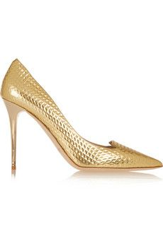 Jimmy Choo Avril embossed metallic leather pumps | THE OUTNET