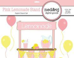 Pink Lemonade Stand - Digital Scrapbook Clipart - Pink Lemonade Clipart -  Yellow and Pink Clip Art - INSTANT DOWNLOAD