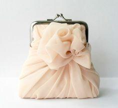Pink ruffle clutch