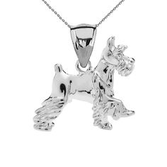 Schnauzer Pendant Necklace in White Gold. Available in 10K & 14K. Proudly crafted in USA.
