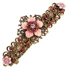 Victorian Style Charming Michal Negrin Hair Brooch Decorated with Fuchsia and Light Purple Swarovski Crystals, Embellished with Pink Hand Painted Flowers and Rich Brass Ornaments