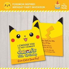 Pokemon Inspired Birthday Party Invitation | Pikachu Character Foldable Card…