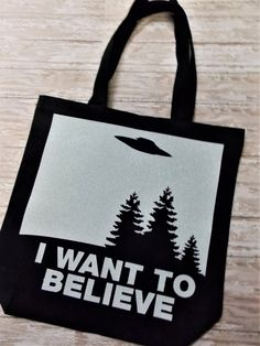 x-files bag canvas tote Fox Mulder poster I want by SewNerdyGifts