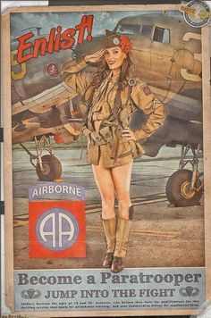 Collection of Aviation Pin Up and Nose Art copyrights belong to their respective owners. Pin Up Retro, Pin Up Girl Vintage, Vintage Pins, Ww2 Posters, Pin Up Posters, Military Art, Military History, Dibujos Pin Up, 82nd Airborne Division