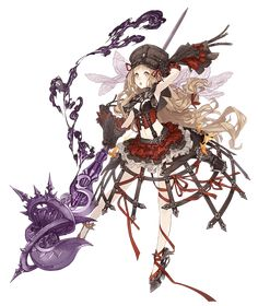 View an image titled 'Red Riding Hood, Lustful Scorpion Cleric Job Art' in our SINoALICE art gallery featuring official character designs, concept art, and promo pictures. Female Character Design, Character Concept, Character Art, Concept Art, Fantasy Characters, Anime Characters, Tekken Cosplay, Psychedelic Drawings, Anime Weapons