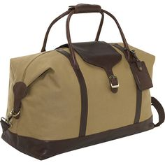 """Clava Canvas 21"""" Overnighter w/ Leather Trim ($227) ❤ liked on Polyvore featuring bags, luggage, tan and travel duffels"""